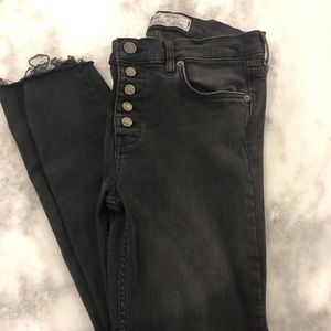Free People High Waisted Black Jeans Size 28